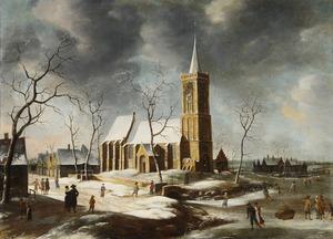 Winter in Wognum, ten noorden van Hoorn, met schaatsers op de bevroren rivier voor de kerk