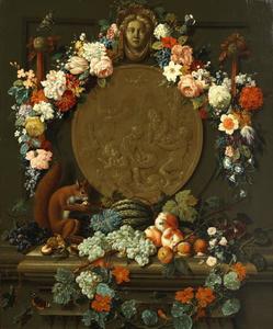 Stilleven met een eekhoorn op een stenen rand met fruit, voor een medallion versierd met bloemenkrans