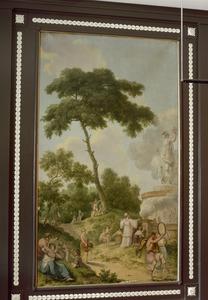 Arcadisch landschap met offerscène; allegorie op het tijdperk van de volwassenen
