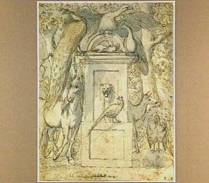 Paard, hert en vogels rond een fontein