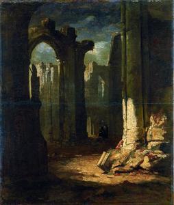 Gezicht in een ruïne van een gotische kerk