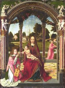 Maria met kind en twee musicerende figuren, in een zuilengalerij voor een landschap