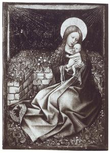 Maria met kind gezeten voor een zodenbank