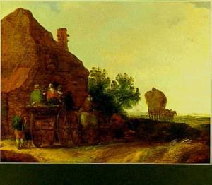 Boeren op een kar bij een herberg