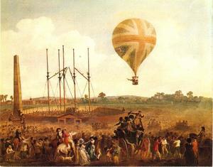 De opstijging van George Biggins in de ballon van Lunardi