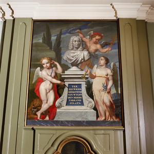 Allegorische voorstelling met borstbeeld van IJsbrand Staats
