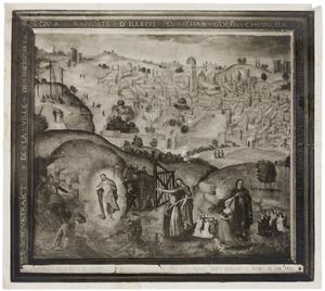 Landschap met de Kruisafname en de Opstanding van Christus en een groepsportret van Jean Godin en zijn vrouw Jeanne de Salembiens en hun kinderen, waaronder waarschijnlijk zoon Jacques Godin XV (?-1525), Jerusalem in de achtergrond