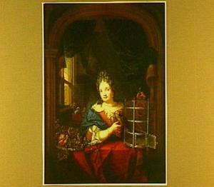 Een jonge vrouw met een papegaai bij een venster