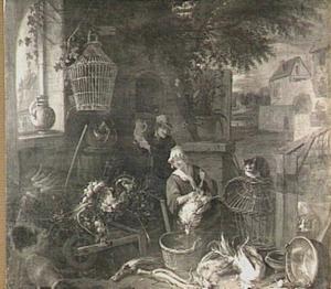 Man en vrouw die een kip plukt op een boerenerf