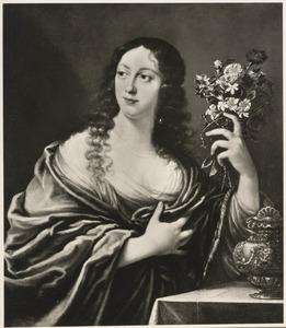 Portret van een jonge vrouw met boeket