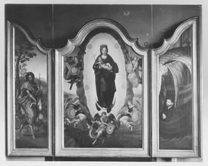 De H. Jacobus (links); Maria van de Onbevlekte Ontvangenis (midden); Portret van de stichter (rechts)