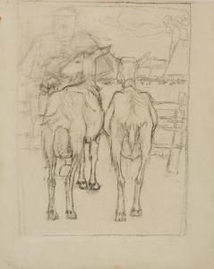 Twee geiten van achteren gezien en een boer bij een hek