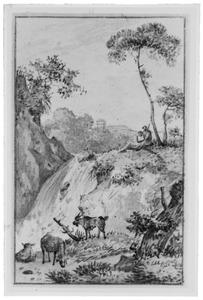 Heuvellandschap met herder en vee bij waterval
