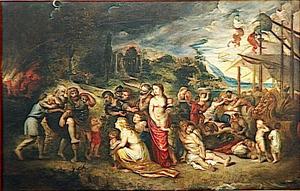 Aeneas maakt zich op om met de zijnen in ballingschap te gaan