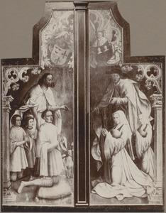 De annunciatie (binnenzijde links); De verloving van Maria en Jozef (midden); De opdracht in de tempel (binnenzijde rechts); Johannes de Doper met stichter Jan Colibrant en zijn zoons (buitenzijde links); De H. Jacobus de Meerdere met stichtster Josina Mengiaert en haar dochter (buitenzijde rechts)