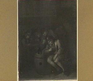 Herbergscène met benevelde soldaat en kaartspelers
