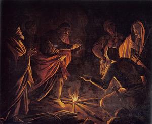 Paulus wordt op Malta door een adder gebeten terwijl hij hout op het vuur gooit (Handelingen 28:3-6)