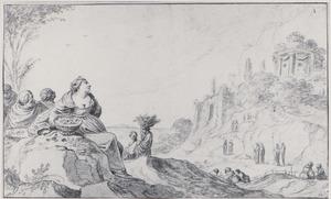 Zuidelijk landschap met vrouwen die manden dragen: Herse en haar zusters?