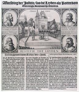 De terechtstelling van Arminianen te Leiden, met portretten van Jan Pietersz. Lijndraeyer (....-1623), Samuel de Plecker (....-1623), Gerrit Cornelisz. Cleermaecker (....-1623) en Claes Michielsz. Bontebal (....-1623)
