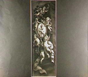 Grisaille met putti die een medaillon dragen met koning David die harp speelt