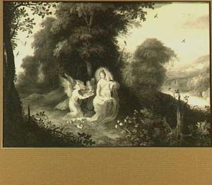 De Madonna, zittend in een landschap, bediend door engelen