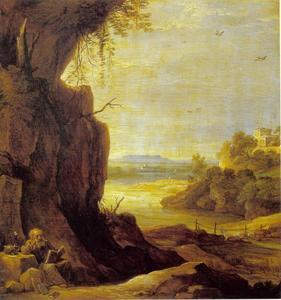 Zuidelijk landschap met heilige Antonius de heremiet