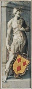 Mansfiguur met een heraldisch wapen in grisaille (Verso: Groepsportret van mannelijke schenkers met een heilige bisschop)