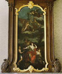 Allegorische voorstelling met betrekking tot de vruchtbaarheid en de bevordering van de kunsten en de vrede