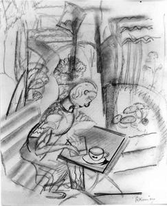 Schrijvende of tekenende vrouw aan een tafel in de tuin