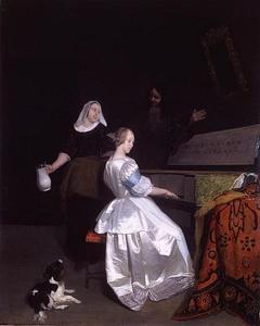 Vrouw aan het virginaal in gezelschap van een dienstmeid en een man