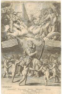 David spelend op de harp en de H. Cecilia spelend op een orgel. Uitvoering van een motet van Orlando di Lasso (Psalm 150)