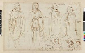 Studie van Eustache de Morcamp en zijn vrouw, Willem van der Bie en  zijn vrouw en kinderen