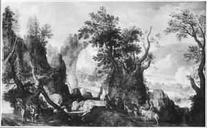 Ruig berglandschap met een groep reizigers te paard, op de voorgrond twee marskramers