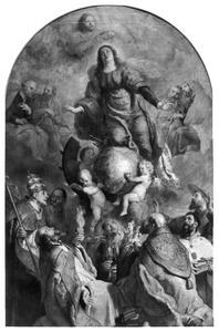 De tenhemelopneming van de H. Catharina van Alexandrië in aanwezigheid van vele heiligen