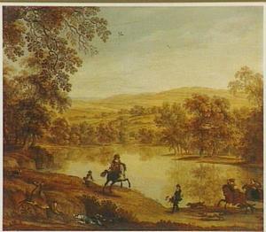 Heuvellandschap met hertenjacht langs een bosmeer
