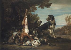Stilleven van jachtbuit, met twee honden, in een landschap