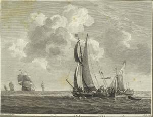 Zeegezicht met schepen en zeilboten