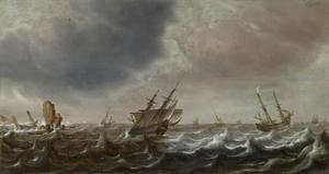 Schepen in ruwe zee
