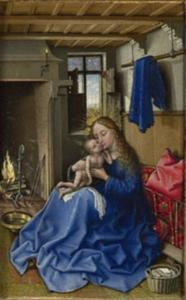Maria en kind in een interieur