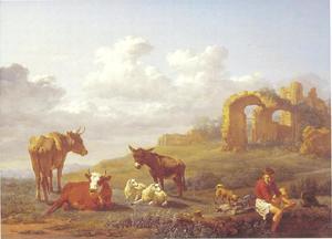 Zuidelijk landschap met vee en een herder die zijn voeten wast bij een ruïne
