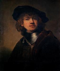 Halffiguur van een jongeman met halsberg en baret