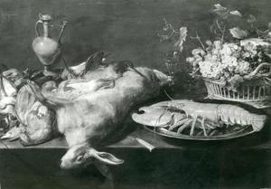 Een stillleven met jachtbuit, een kreeft en fruit op een tafel