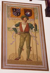 Schutter met vaandel voorzien van de wapens van de provincies Groningen en Drenthe