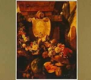 Stilleven van vruchten, bloemen en een stenen cartouche