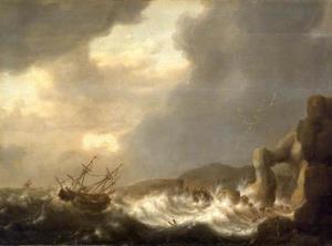 Schipbreuk voor een rotsachtige kust