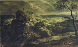Stormachtig kustlandschap met de schipbreuk van H. Paulus op Malta (Handelingen 28:1-6)