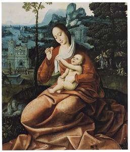 Maria met kind in een landschap met fantasie-architectuur