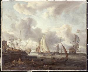 Hollandse schepen voor een haven