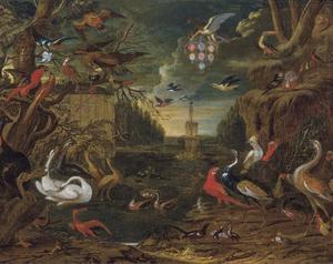 Allegorie met vogels in een parklandschap