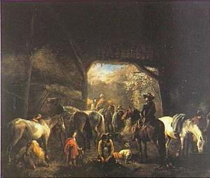 Stalinterieur met verzorging van paarden